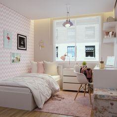 Study Room Decor, Room Ideas Bedroom, Teen Room Decor, Small Room Bedroom, Bedroom Decor, Tiny Bedroom Design, Home Room Design, Girl Bedroom Designs, Small Room Interior