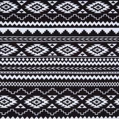 Black & White Aztec Stripe Knit Fabric