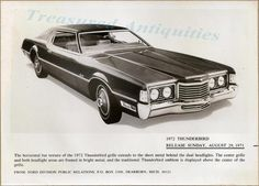 1972 Ford Thunderbird Two Door Coupe Press Release Advertising Photograph Photo…
