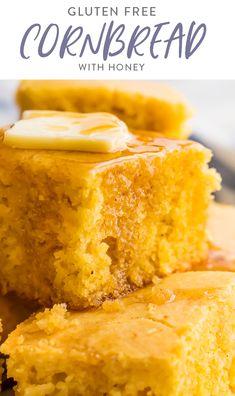 Honey Cornbread, Gluten Free Cornbread, Healthy Cornbread, Corn Bread Gluten Free, Cornbread Muffins, Honey Recipes, Dairy Free Recipes, Gluten Free Dinners, Easy Gluten Free Desserts