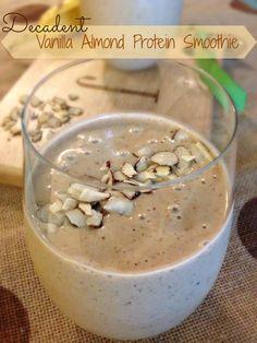 Decadent Vanilla Almond Protein Smoothie; only 5 ingredients
