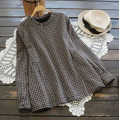 Houndstooth Back button ruffled stand collar long sleeve shirt top mori girl