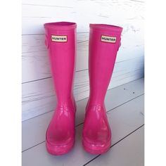 Lipstick Pink Hunter Boots Gorgeous & rare lipstick pink Hunter boots. Kids size 5. Some scuff marks that I've shown in pictures. No tears, holes etc. Hunter Boots Shoes Winter & Rain Boots