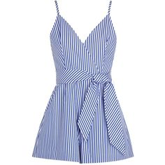 Womens Playsuits Finders Keepers Blow Your Mind Striped Cotton... ($185) ❤ liked on Polyvore featuring jumpsuits, rompers, blue romper, finders keepers romper, striped romper, blue rompers and playsuit romper