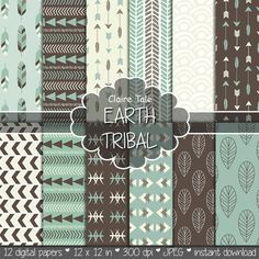 "Tribal digital paper: ""EARTH TRIBAL"" with tribal patterns and tribal backgrounds, arrows, feathers, leaves, chevrons in earth colours"