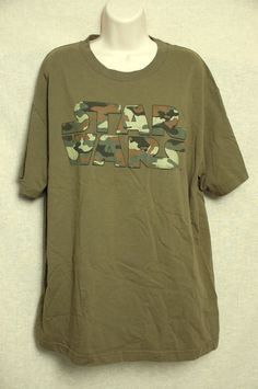 STAR WARS T-Shirt Army green with Camo Logo Short Sleeved Size Large Lucasfilm #LucasFilms #GraphicTee