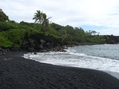 Black Sand Beach along the Road to Hana, Maui, Hawaii. Beautiful but got stung