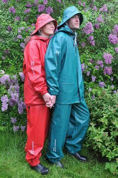 Red & green rain suits