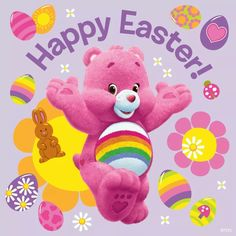 Happy Easter from Cheer Bear Easter Wallpaper, Bear Wallpaper, Care Bears, My Little Nieces, My Little Pony, Cartoon Charecters, Teddy Bear Cartoon, Teddy Bears, Childhood Images