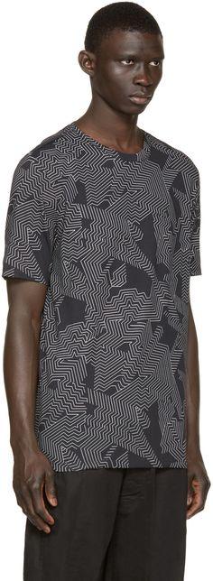 Helmut Lang - Black Labyrinth Print T-Shirt - maze - patterned - art - fashion - designer - graphic - tee - artist