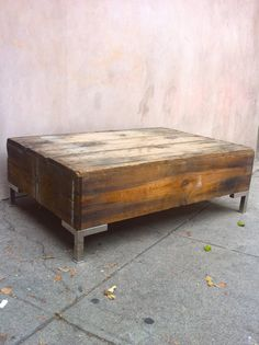 Antique Coffee Crate | cool vintage crate box coffee table with chrome legs vintage