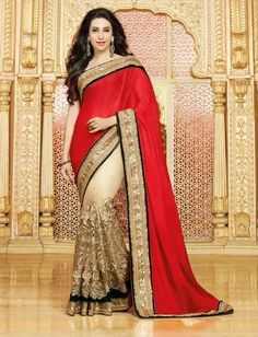Karisma Kapoor Red Chiffon Half and Half Saree 60995