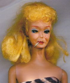 Barbie at 4am after a pack of cigarettes and a bottle of Thunderbird.> Sorry Barbie fans, I couldn't resist. Bad Barbie, Barbie Box, Barbie World, Being Ugly, Barbie Humor, Vintage Barbie, Cheap Motels, El Humor, Humour