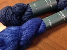 """Shibui Drift in Suit and Silk Cloud in Blueprint, a """"Breton Cowl"""" colorway."""