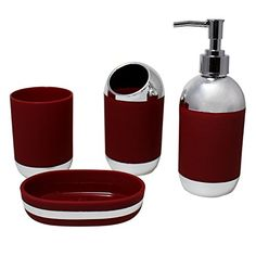 JustNile Deep Plastic and Rubber Bathroom Accessory Set; Includes 2 cups, 1 Soap Dispenser and 1 Soap Dish - Red and White Red Bathroom Accessories, Bathroom Red, Kitchen And Bath, Soap Dispenser, Plastic, Royal Red, Saunas, Cups, Dish