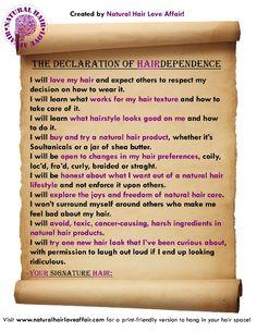 Natural hair care declaration..  :o)