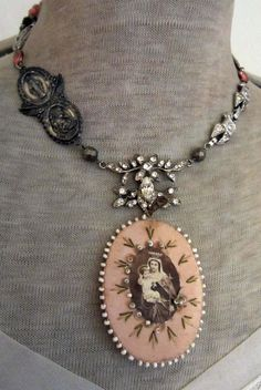a mother's love - vintage assemblage necklace with virgin mary scapular, rhinestones and rosaries by the french circus