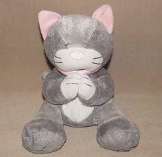 Kids II Gray Grey Praying White Pink Kitty Cat Kitten Plush Toy Two Dear Lord #KidsII