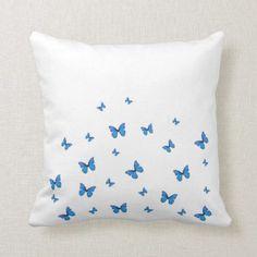 Light Blue Rooms, Light Blue Bedding, Baby Blue Bedrooms, Light Blue Throw Pillows, Blue Pillows, Blue Room Decor, Butterfly Bedroom, My New Room, Butterflies