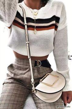 stripe sweater winter outfit ideas