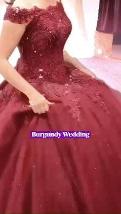 Colored Wedding Dresses, Wedding Bridesmaid Dresses, Wedding Gowns, Maroon Prom Dress, Princess Ball Gowns, Prom Dress Shopping, Gowns For Girls, Sweet 16 Dresses, Prom Dresses Online