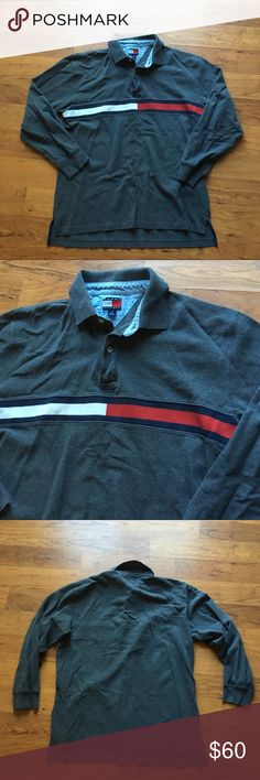 18d933be2 Vintage Grey Tommy Hilfiger big flag rugby Vintage Gray Tommy Hilfiger big  flag rugby polo long