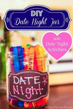DIY Date Night Jar for 100 Great Dates -  I recreated this DIY Date Night Jar for my husband and I.  If you are anything like us, then finding activities that both you and your partner enjoy can become daunting, and sometimes the easiest thing to do is dinner and a movie (Classic). Nevertheless, the repetitive dinner and a movie can become somewhat boring. So if you are looking to get creative with your spouse or significant other then check out this cool project that I made.