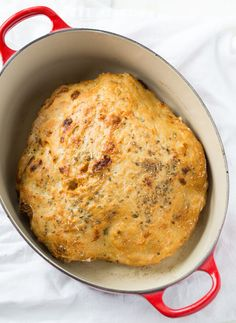 Cheesy Italian Dutch Oven Bread Full recipe - I used a combo of shredded cheddar/Colby cheese instead of the mozzarella