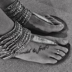 Wild & free foot tattoo with heart <3 love the sandals!