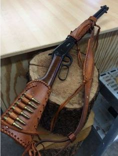 Handmade Leather Gun Stock Forearm Cover Shell Holder Sling No Drill Western Leather Rifle Sling, Leather Holster, Leather Tooling, Leather Bags, Lever Action Rifles, Hunting Rifles, Crossbow Hunting, Gun Holster, Cool Guns