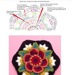 Pt 6 2 of 2 Fridas Flowers CAL 2016 called Ring of Roses by Jane Crowfoot. Symbols chart by Maggie Bullock