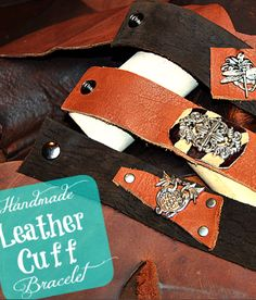 This DIY Leather Cuff Bracelet tutorial was a lot of fun to do. These make really nice and trendy gift ideas. Bracelet En Cuir Diy, Leather Bracelet Tutorial, Leather Cuffs, Leather And Lace, Leather Bracelets, Cuff Bracelets, Yellow Leather, Diy Jewelry Parts, Jewelry Crafts