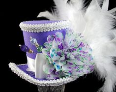 Lavender and White Shabby Chic Mad Hatter Mini Top Hat Fascinator, Alice in Wonderland, Tea Party, Derby Hat
