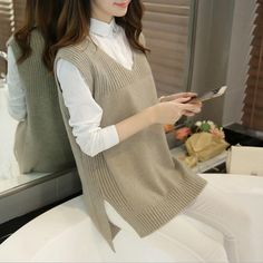 2018 New Arrival Autumn and Winter Women Fashion V-neck Knitting Vest, Korean Style Female El. 2018 New Arrival Autumn and Winter Women Fashion V-neck Knitting Vest, Korean Style Female Elegant Casual All-match Swea. Korean Fashion Trends, Fashion Ideas, Style Fashion, Tunic Pattern, Winter Mode, Loose Sweater, Sweater Coats, Sweater Dresses, Knit Vest