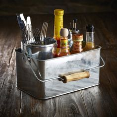 This Genware Galvanised Steel Rectangular Table Caddy is perfect for transporting condiments, sauce bottles or cutlery and napkins to the table. Restaurant Table Setting, Rustic Restaurant, Restaurant Tables, Table Caddy, Café Colonial, Diner Decor, Condiment Holder, Sauce Barbecue, Vintage Cafe