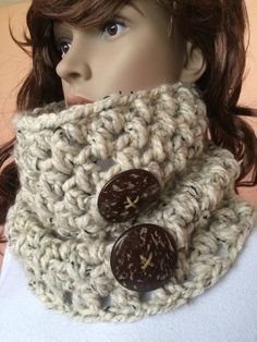 Hand-Crocheted Wool Scarf/Coconut Button by ARPIdesign on Etsy