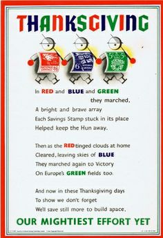 Thanksgiving, 1940s - original vintage poster listed on AntikBar.co.uk
