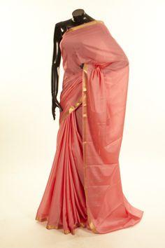 Mysore Crepe- crepe salmon pink saree with blouse
