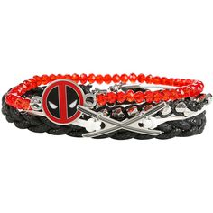 Marvel Deadpool Cord Beaded Bracelet Set Hot Topic ($15) ❤ liked on Polyvore featuring jewelry, bracelets, charm jewelry, plastic jewelry, beaded jewelry, plastic bangles and bead charms