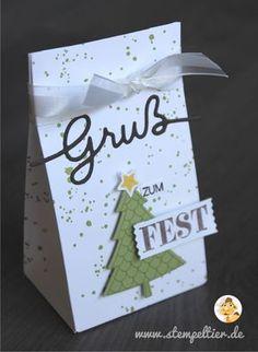 stampin up christmas tree gruß zum fest weihachtliche Worte Gruß tannenbaum peaceful pines gift bag Geschenktüte stempeltier