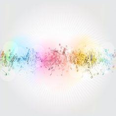 カラフルな音符と抽象的な背景 無料ベクター