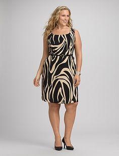 Plus Size Neutral Zebra Print Dress | Dressbarn
