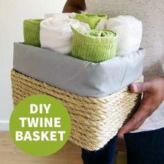 Make A Cardboard Box Look Like A Fancy Store-Bought Basket DIY twine basket Diy Storage, Storage Baskets, Diy Home Crafts, Fun Crafts, Twine Crafts, Cardboard Box Diy, Cardboard Playhouse, Cardboard Furniture, Fancy Store