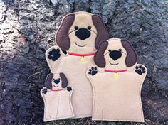 Dog  Pet Animal Felt Hand AND Finger Puppet  by ThatsSewPersonal, $18.00