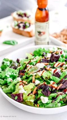 The best simple salads to get your greens this Spring! Roasted Beets & Goat Cheese with Pomegranate infused balsamic glaze | Easy meals | Family Recipes | healthy eating