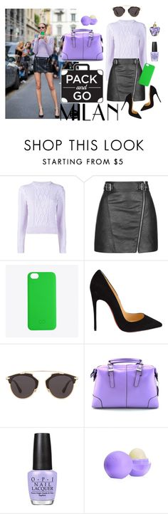 """""""Milan & Lilac"""" by ariannapeach ❤ liked on Polyvore featuring Christopher Kane, Topshop, C6, Christian Louboutin, Christian Dior, OPI, Eos, Lolita Lempicka, women's clothing and women"""