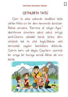 1. Sınıf Okuma Yazma Etkinlikleri 4. Grup Sesler Ç Sesi Okuma Metinleri Turkish Lessons, Learn Turkish Language, Quran Quotes, Montessori, Primary School, Education, Math, Sayings, Reading