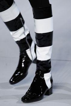 Stivali bicolor a righe Saint Laurent
