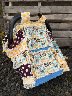 Car Seat Canopy Quilt Novelty, Boy Baby Carseat Cover Newborn Gift, Ready to Ship