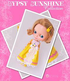 Gypsy Sunshine Yellow Empire Waist Dress for Blythe
